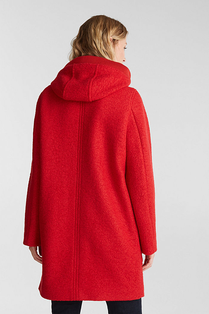 Made of blended wool: Bouclé coat with hood, RED, detail image number 3