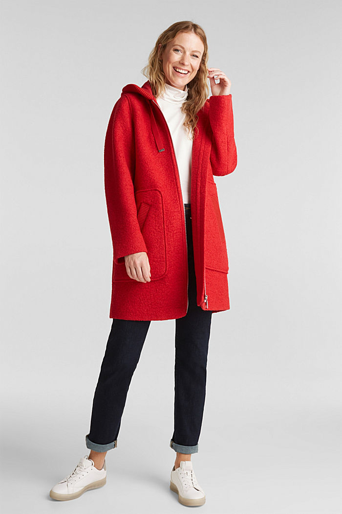 Made of blended wool: Bouclé coat with hood, RED, detail image number 1