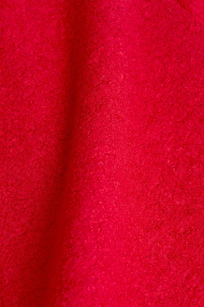 Made of blended wool: Bouclé coat with hood, RED, detail image number 4