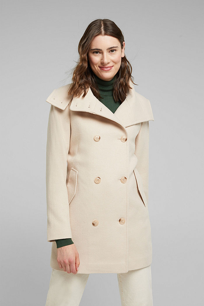 Coat made of blended wool, CREAM BEIGE, detail image number 0