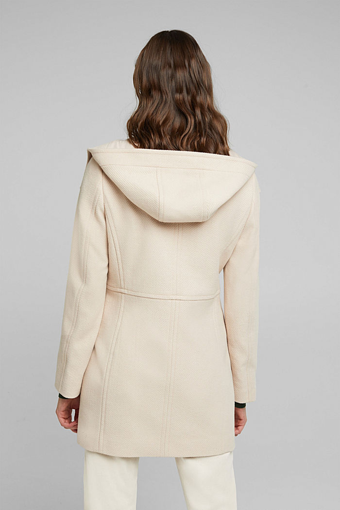 Coat made of blended wool, CREAM BEIGE, detail image number 3