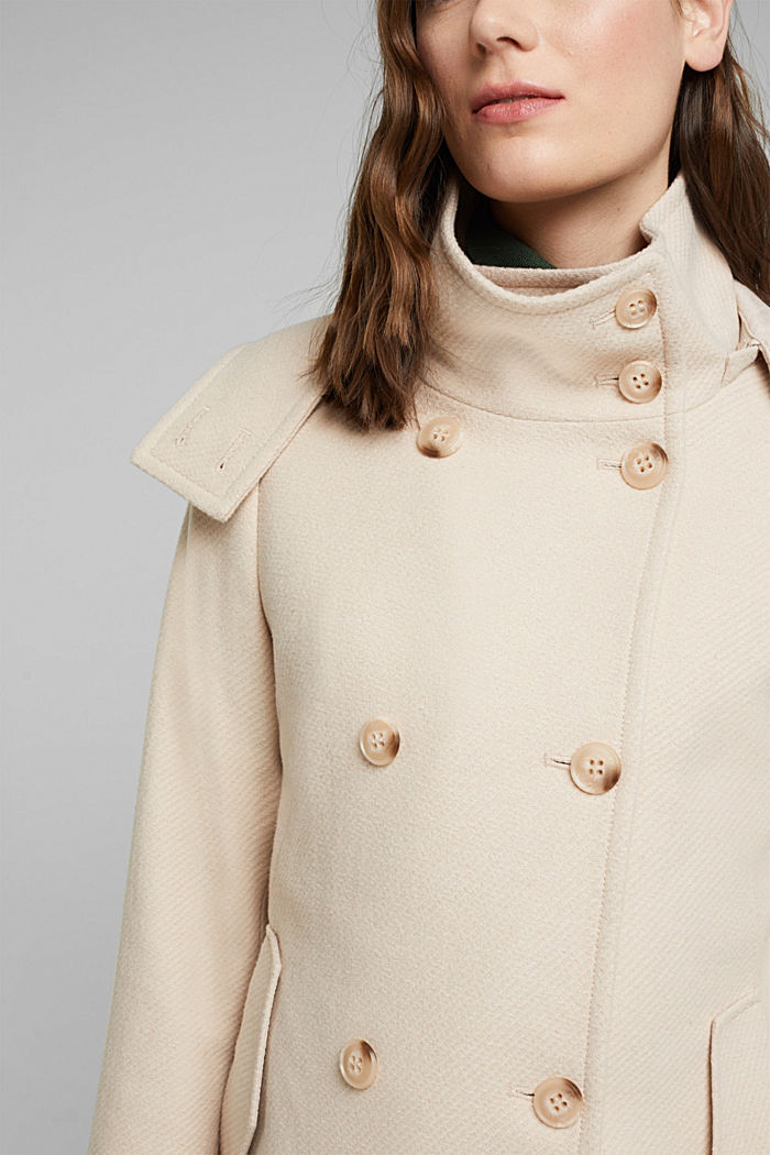 Coat made of blended wool, CREAM BEIGE, detail image number 2