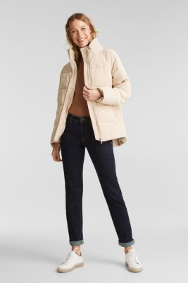 Padded, quilted corduroy jacket, SAND, detail