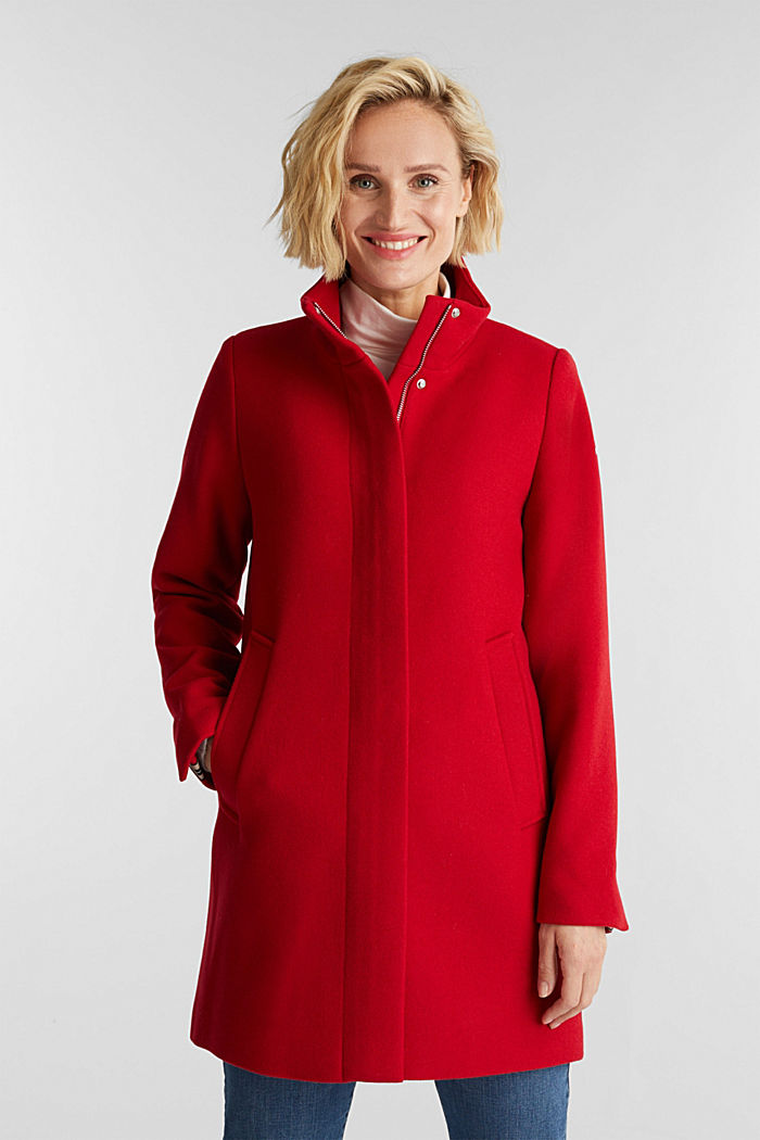 Recycled: wool coat with a band collar, DARK RED, detail image number 0