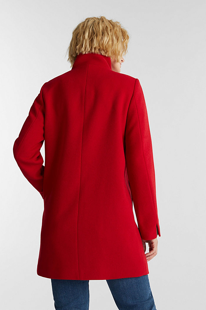 Recycled: wool coat with a band collar, DARK RED, detail image number 3
