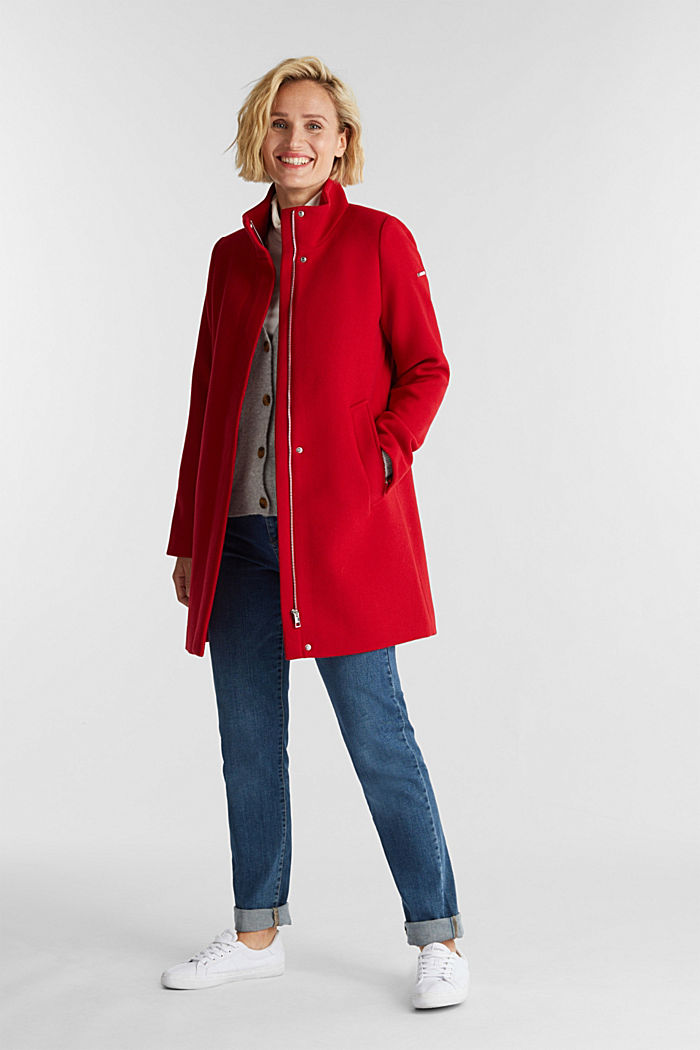 Recycled: wool coat with a band collar, DARK RED, detail image number 1