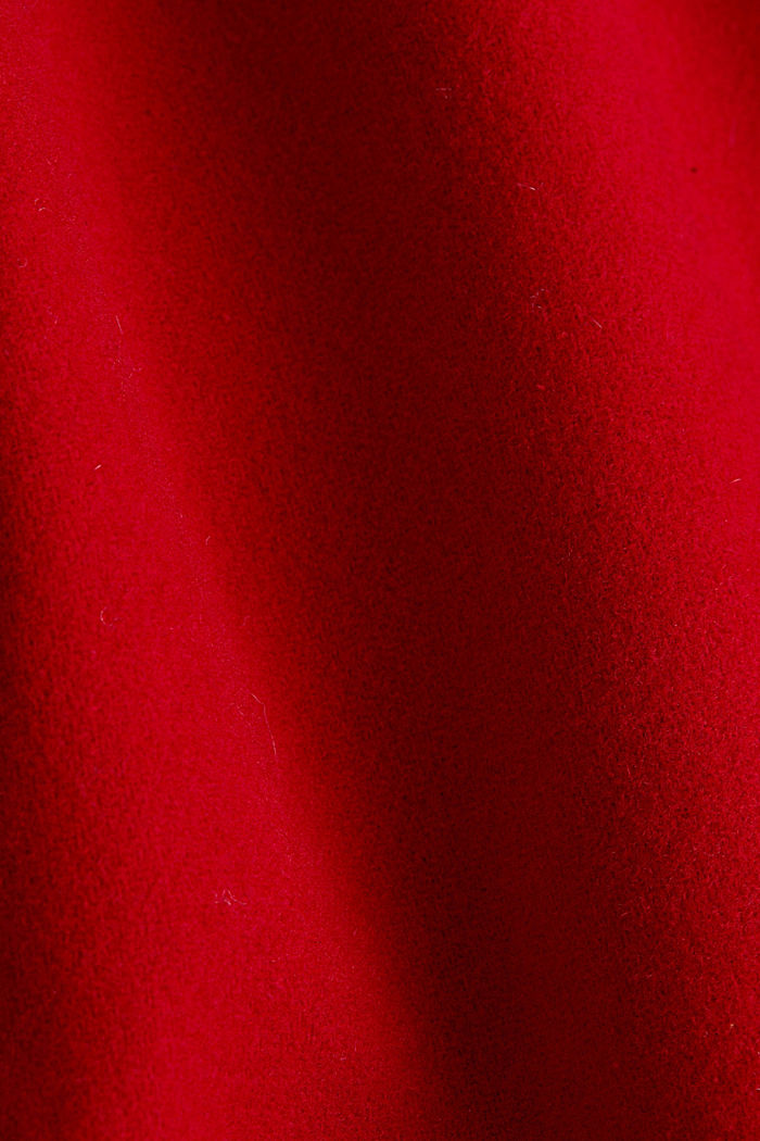 Recycled: wool coat with a band collar, DARK RED, detail image number 4
