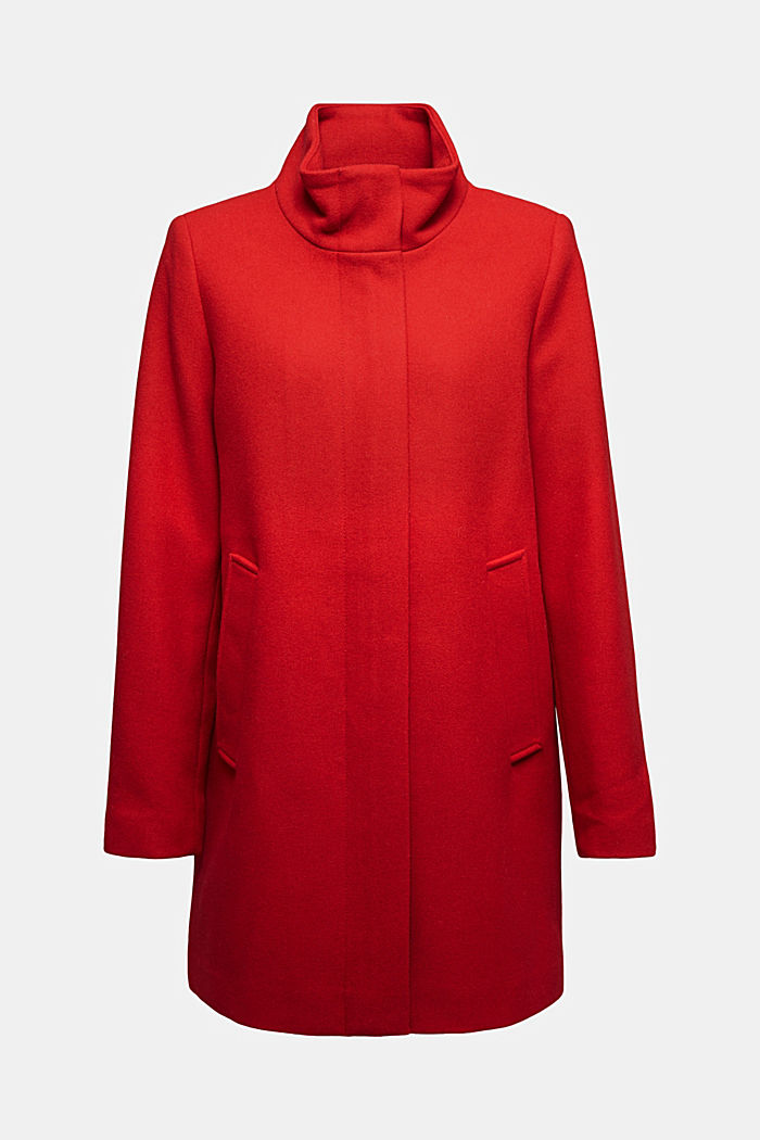 Recycled: wool coat with a band collar, DARK RED, detail image number 5