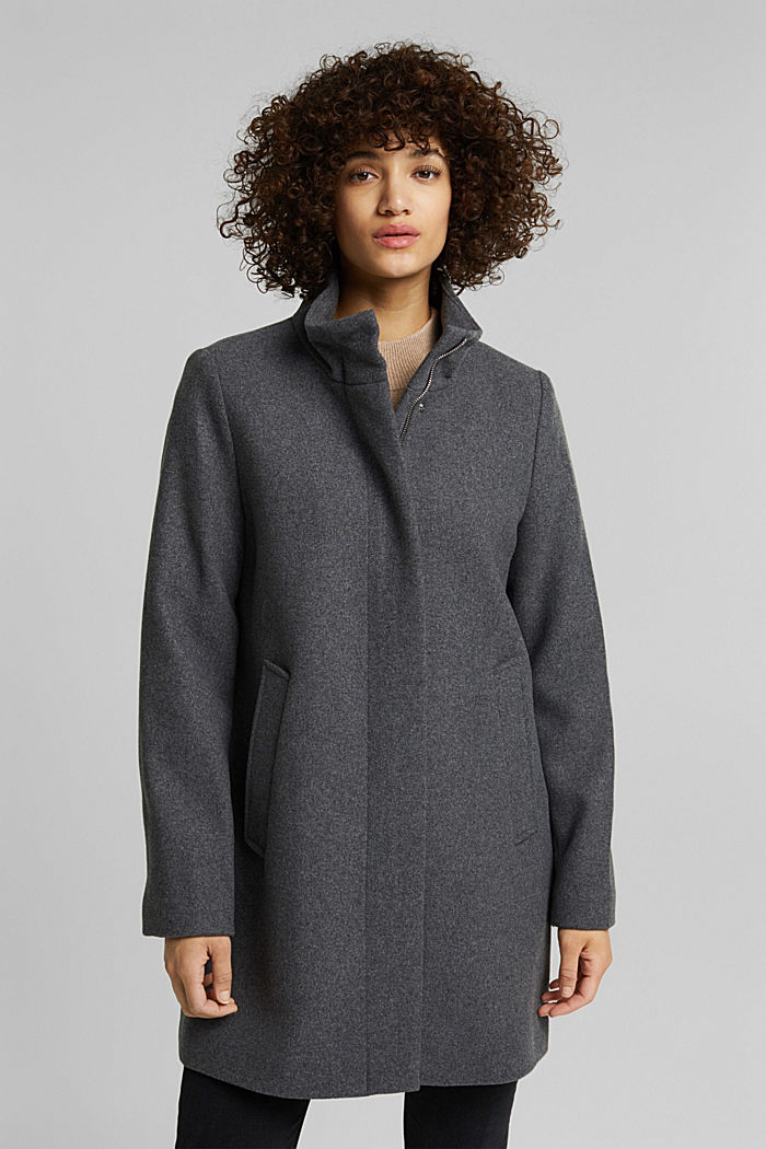 Recycled: wool coat with a band collar, GUNMETAL, detail image number 0
