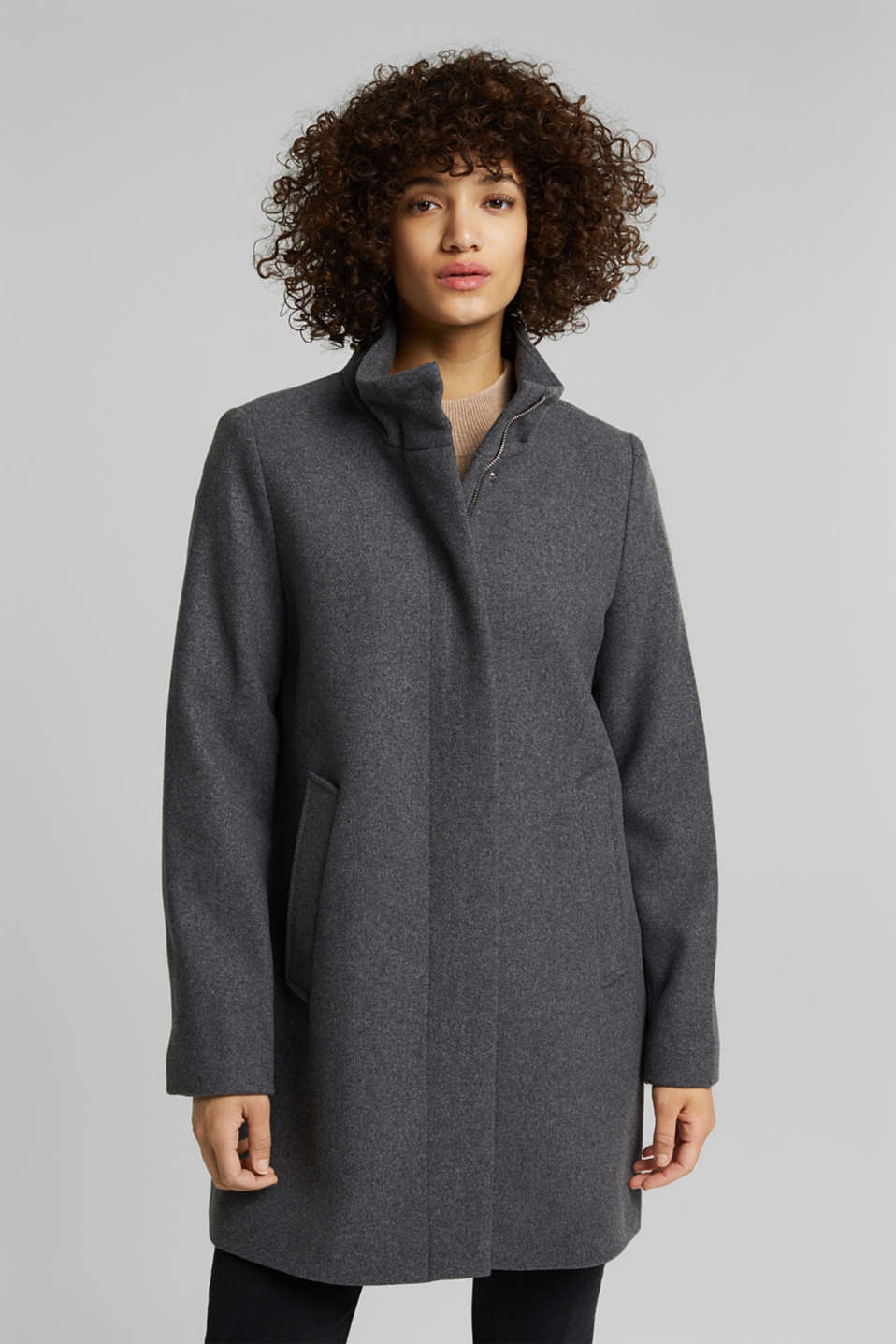 Esprit - Recycled: wool coat with a band collar