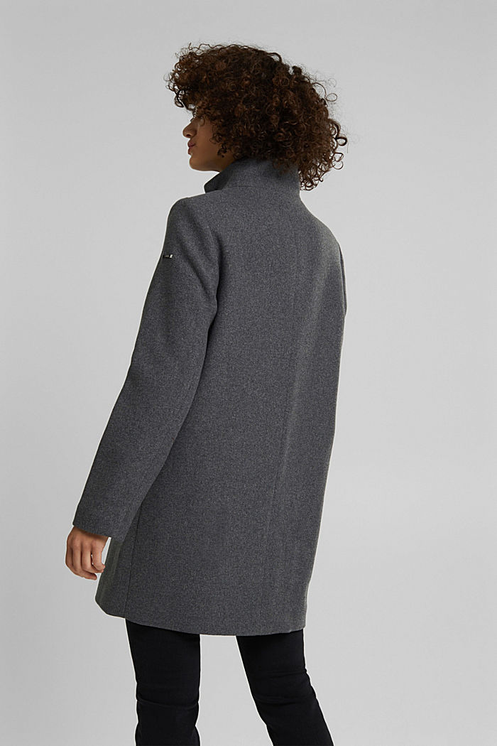 Recycled: wool coat with a band collar, GUNMETAL, detail image number 3