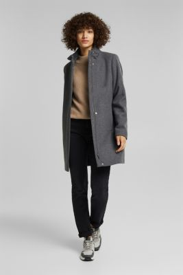 Recycled: wool coat with a band collar, GUNMETAL 5, detail