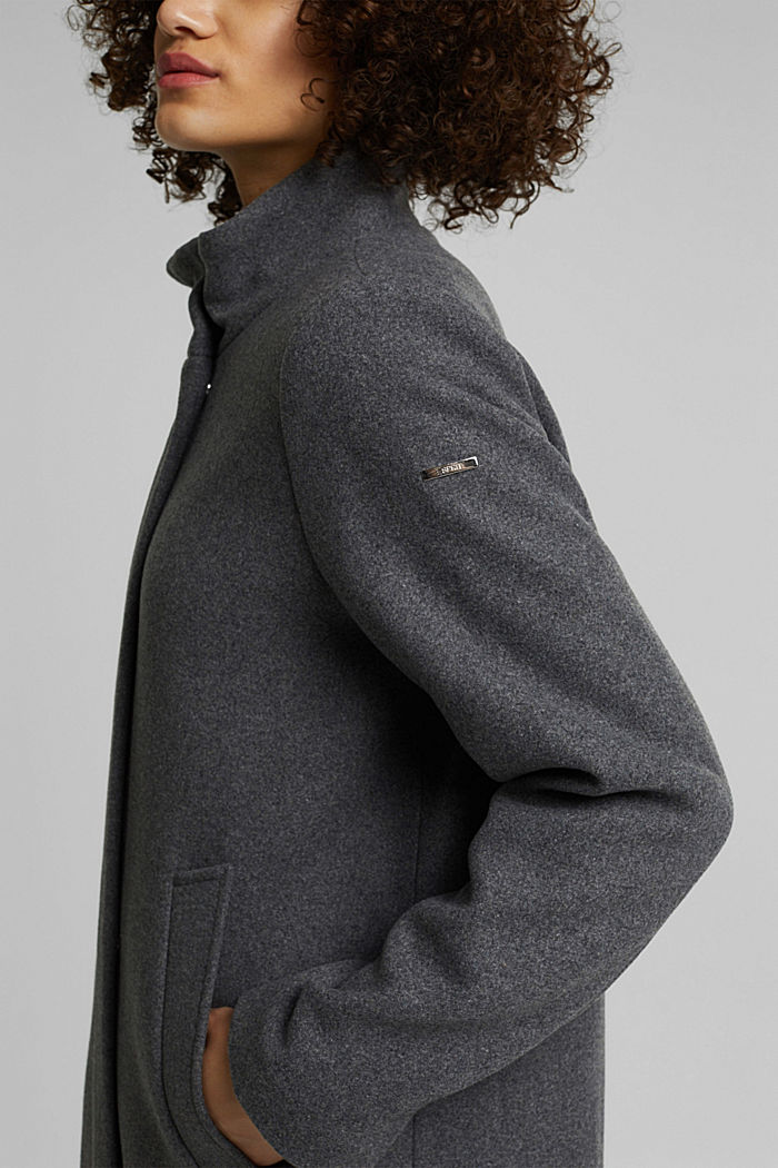 Recycled: wool coat with a band collar, GUNMETAL, detail image number 2