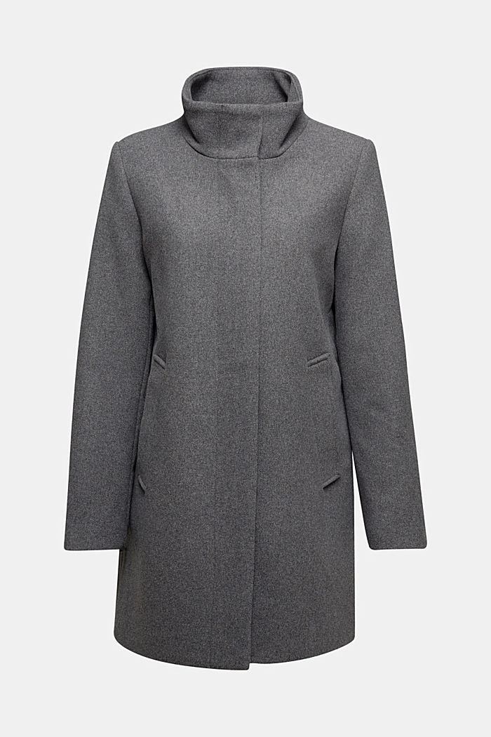 Recycled: wool coat with a band collar, GUNMETAL, detail image number 6