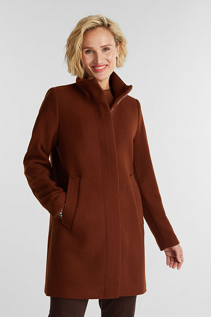 Recycled: wool coat with a band collar, RUST BROWN, detail image number 0
