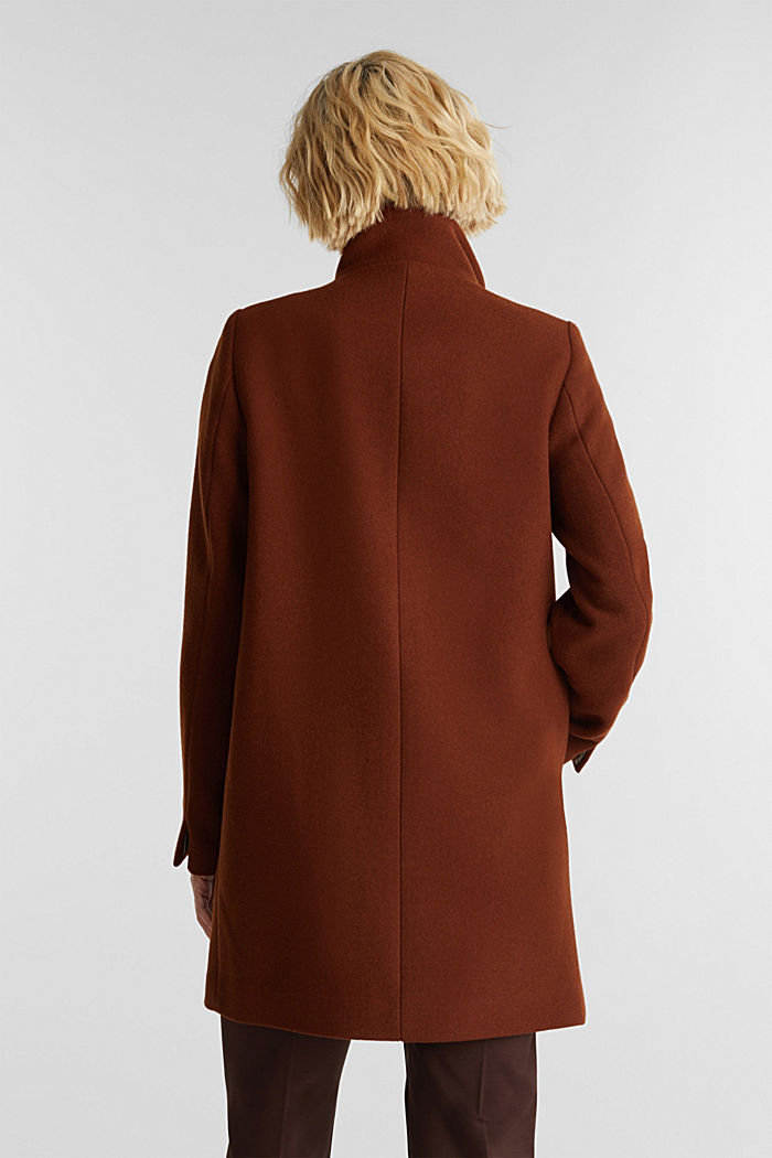 Recycled: wool coat with a band collar, RUST BROWN, detail image number 3