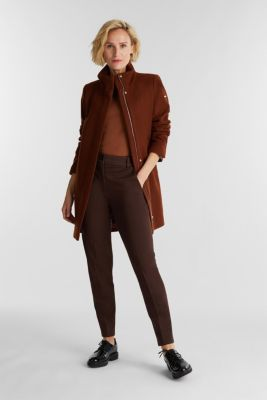 Recycled: wool coat with a band collar, RUST BROWN, detail