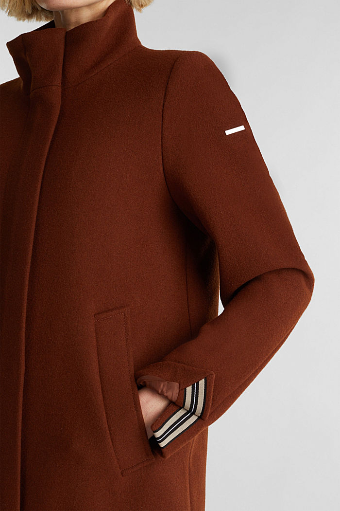 Recycled: wool coat with a band collar, RUST BROWN, detail image number 2