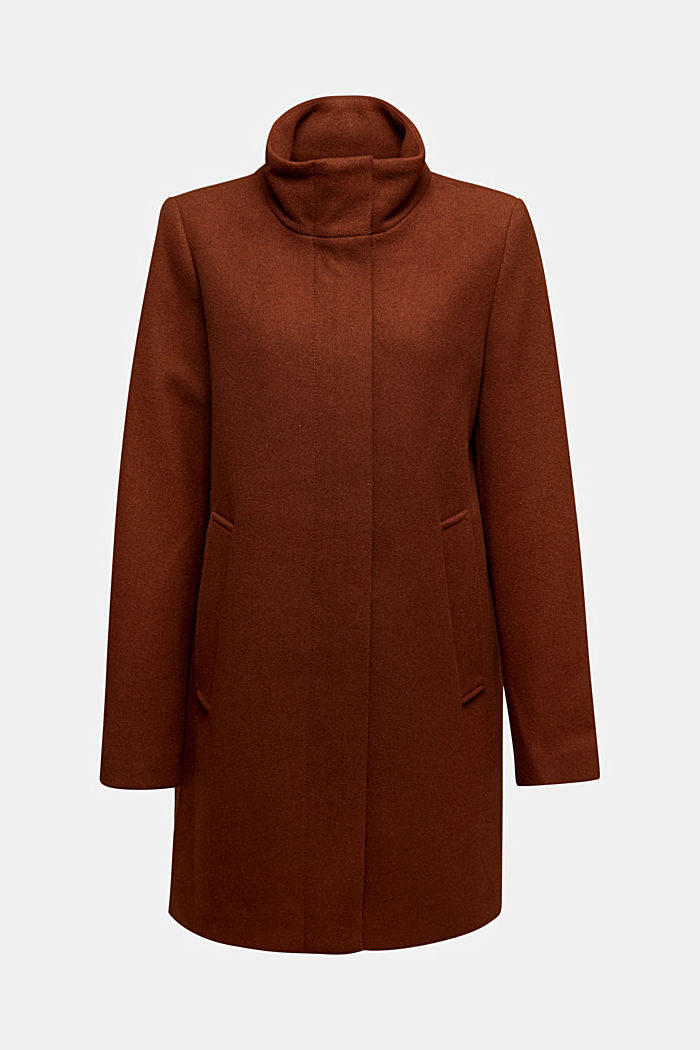 Recycled: wool coat with a band collar, RUST BROWN, detail image number 6