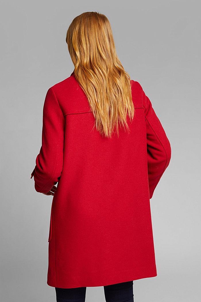 Z recyklovaného materiálu: duffelcoat ze směsi vlny, DARK RED, detail image number 3