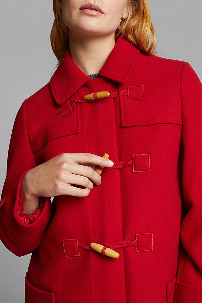 Z recyklovaného materiálu: duffelcoat ze směsi vlny, DARK RED, detail image number 2