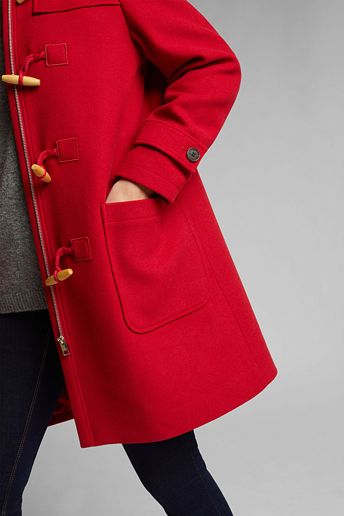 Z recyklovaného materiálu: duffelcoat ze směsi vlny, DARK RED, detail image number 5