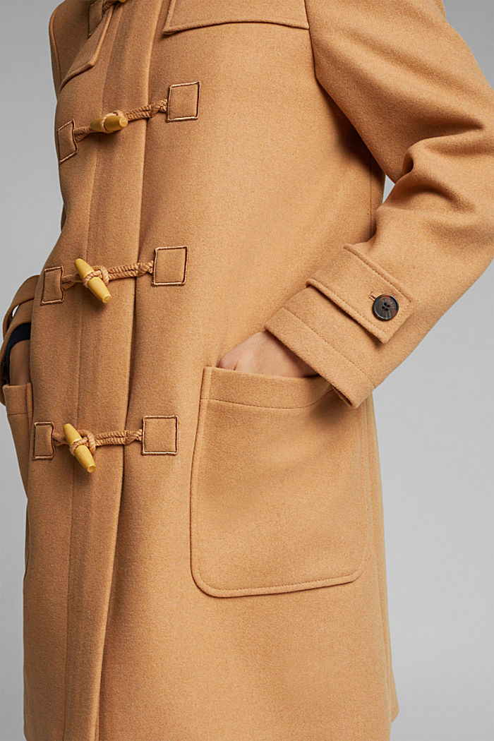 Recycled: Wool blend duffel coat, CAMEL, detail image number 2
