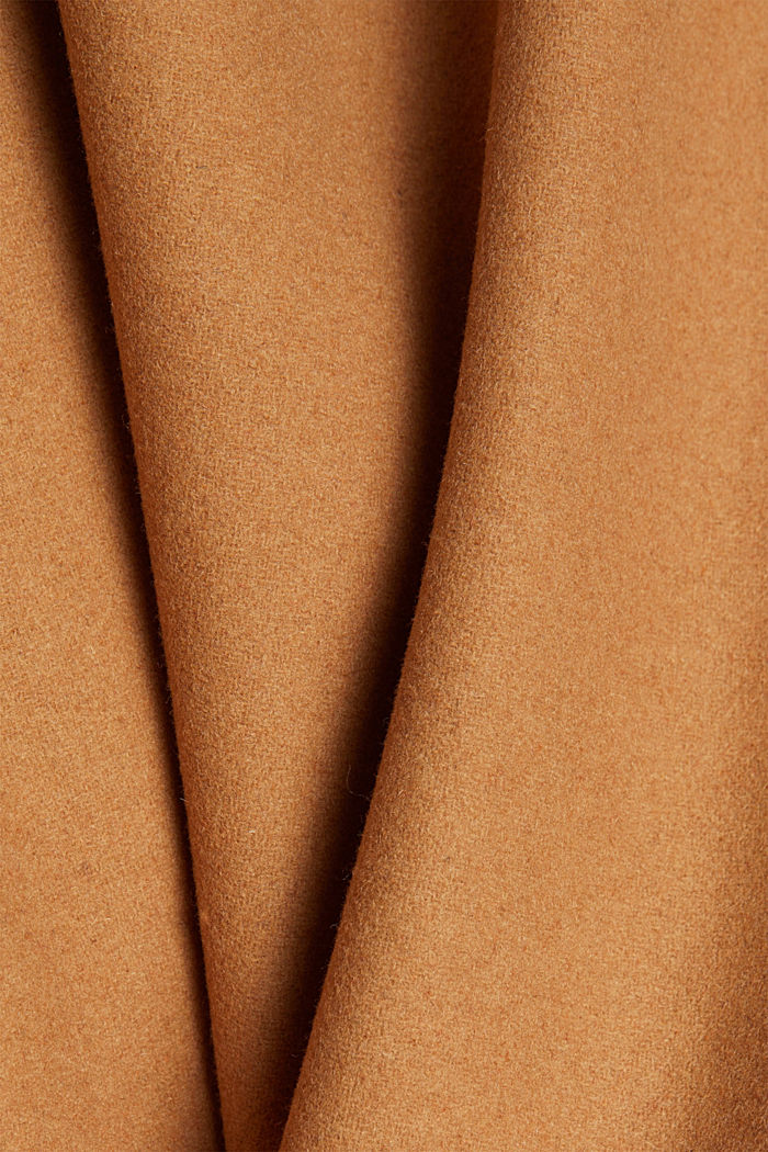 Recycled: Wool blend duffel coat, CAMEL, detail image number 4