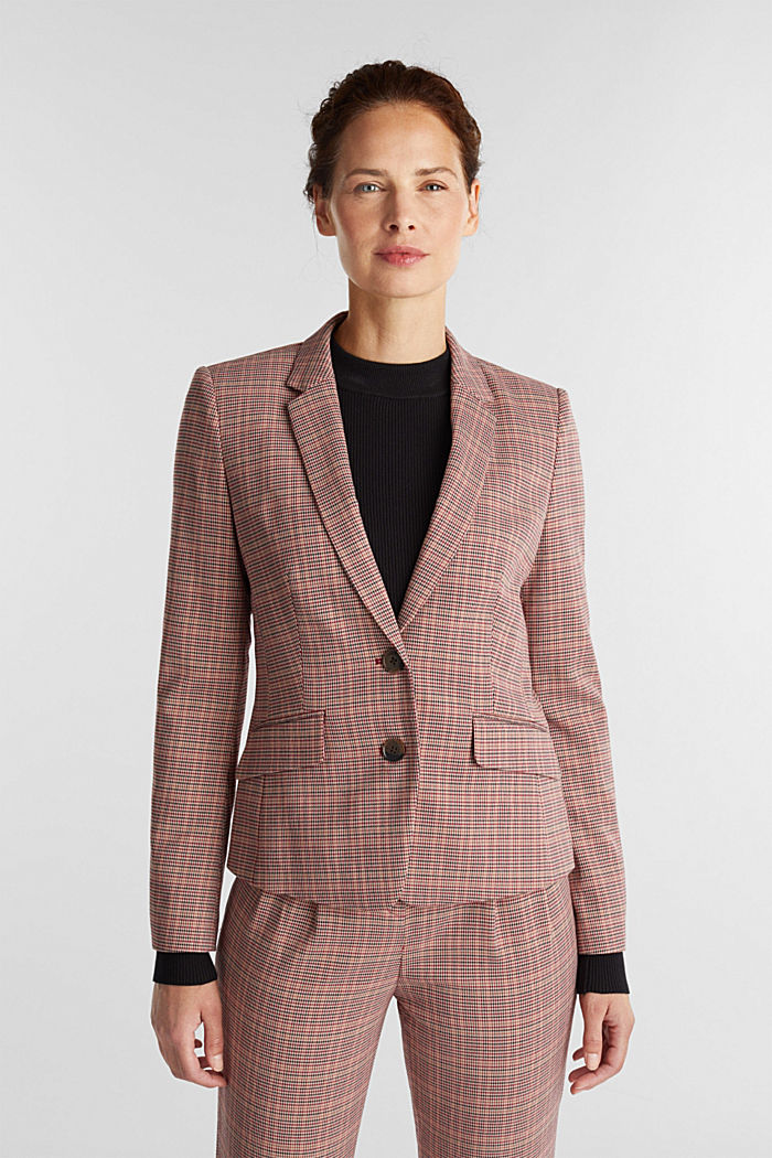 HOUNDSTOOTH Mix + Match blazer, BORDEAUX RED, detail image number 0