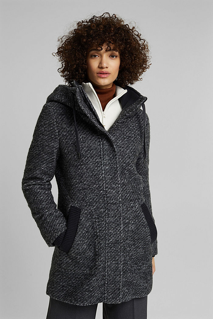 Made of blended wool: Bouclé coat with hood
