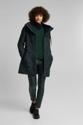 Wool blend: coat in a salt and pepper look, DARK TEAL GREEN 5, detail