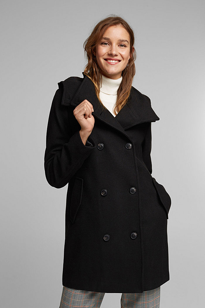 Wool blend: Coat with a detachable hood, BLACK, detail image number 0