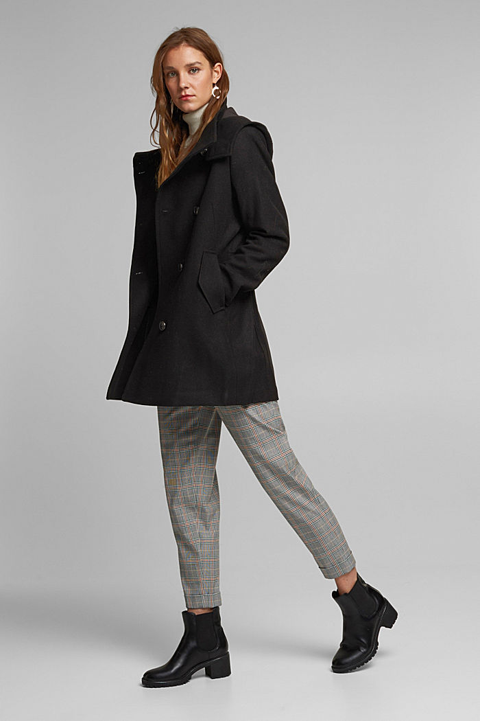 Wool blend: Coat with a detachable hood, BLACK, detail image number 6