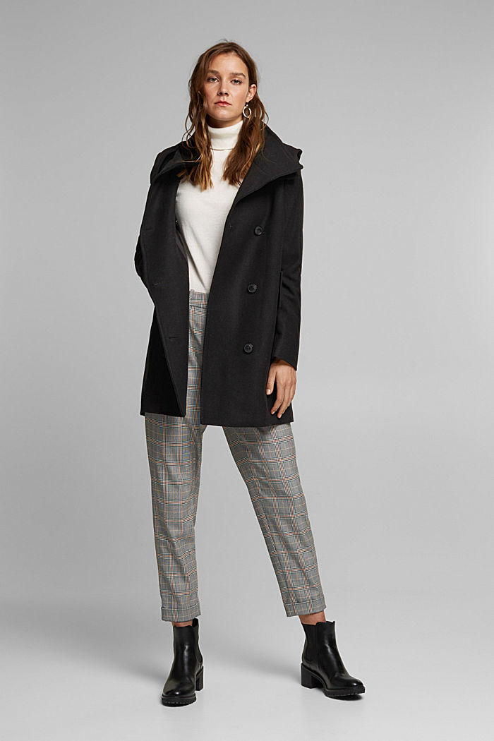 Wool blend: Coat with a detachable hood, BLACK, detail image number 1
