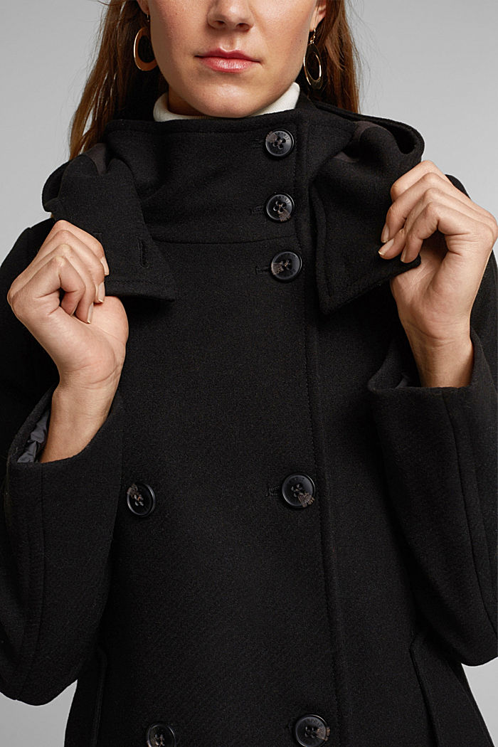Wool blend: Coat with a detachable hood, BLACK, detail image number 2
