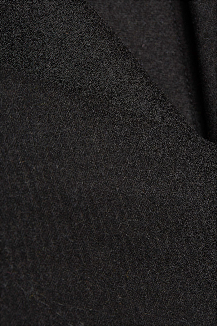Wool blend: Coat with a detachable hood, BLACK, detail image number 4