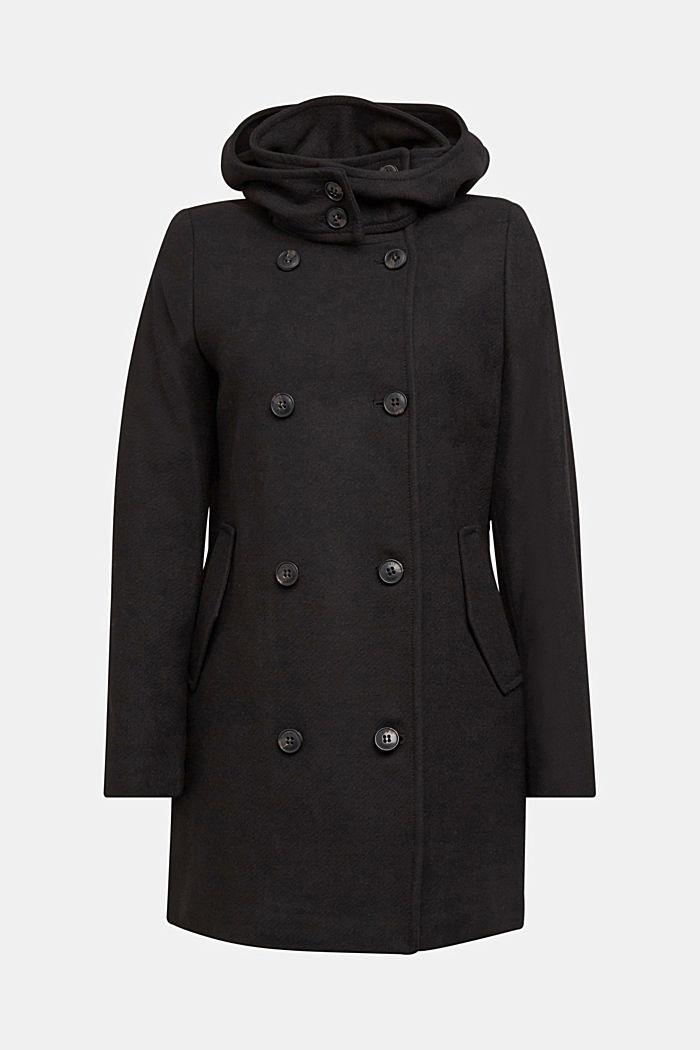 Wool blend: Coat with a detachable hood, BLACK, detail image number 7