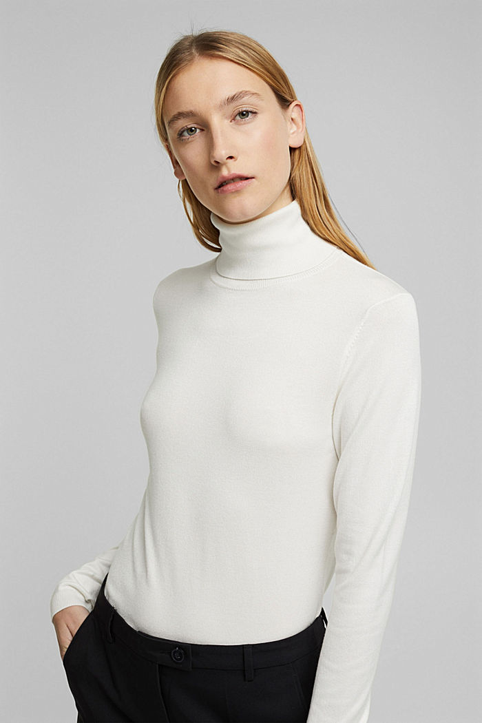 Polo neck jumper, OFF WHITE, detail image number 0