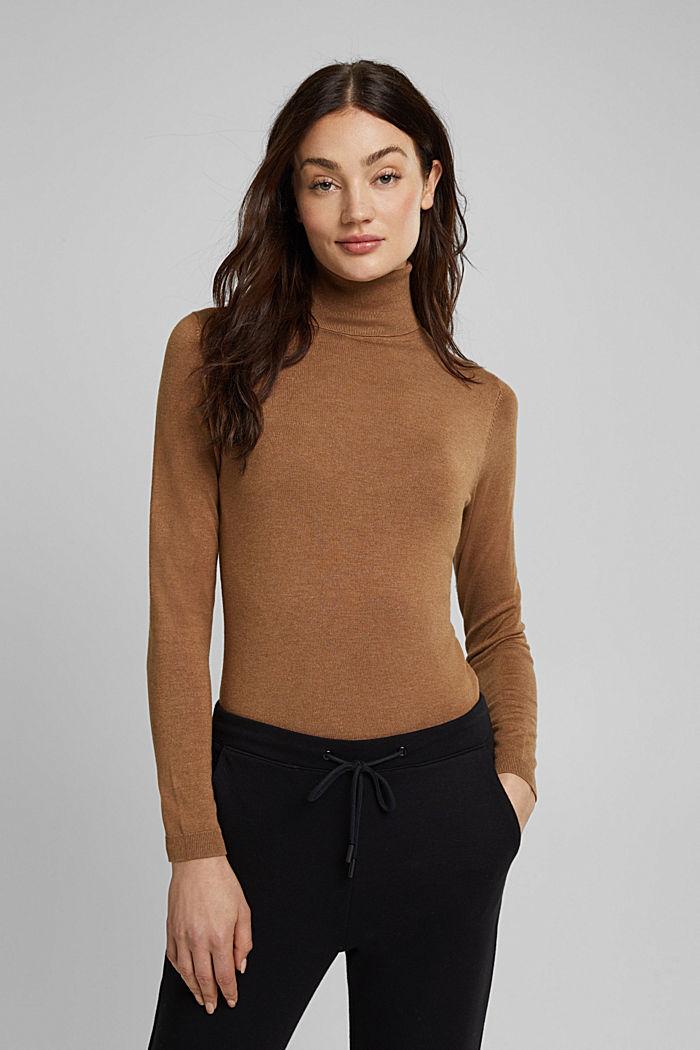 Polo neck jumper, CAMEL, detail image number 0