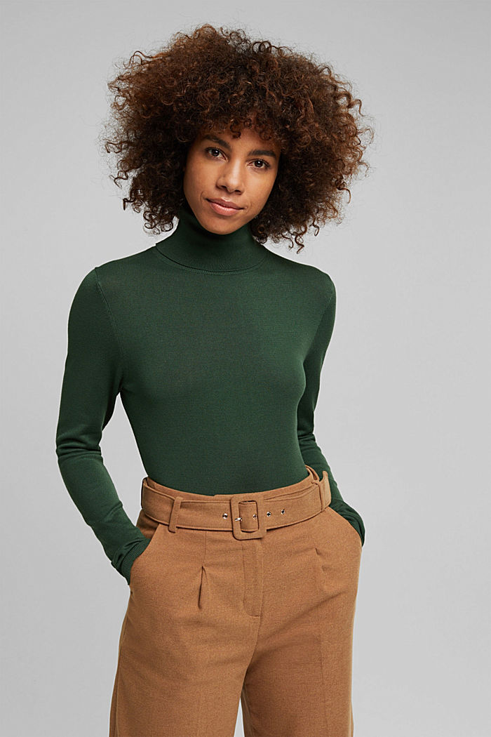Polo neck jumper, DARK GREEN, detail image number 0