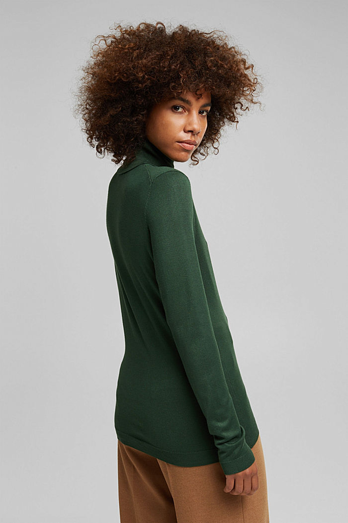 Polo neck jumper, DARK GREEN, detail image number 3