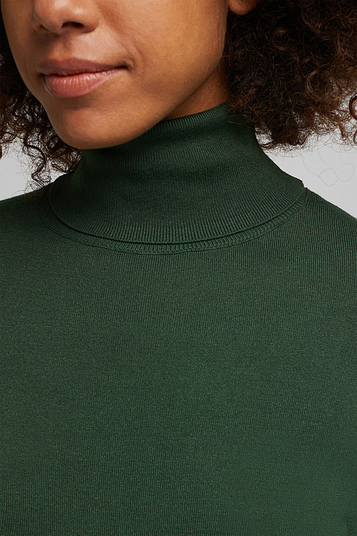 Polo neck jumper, DARK GREEN, detail image number 2