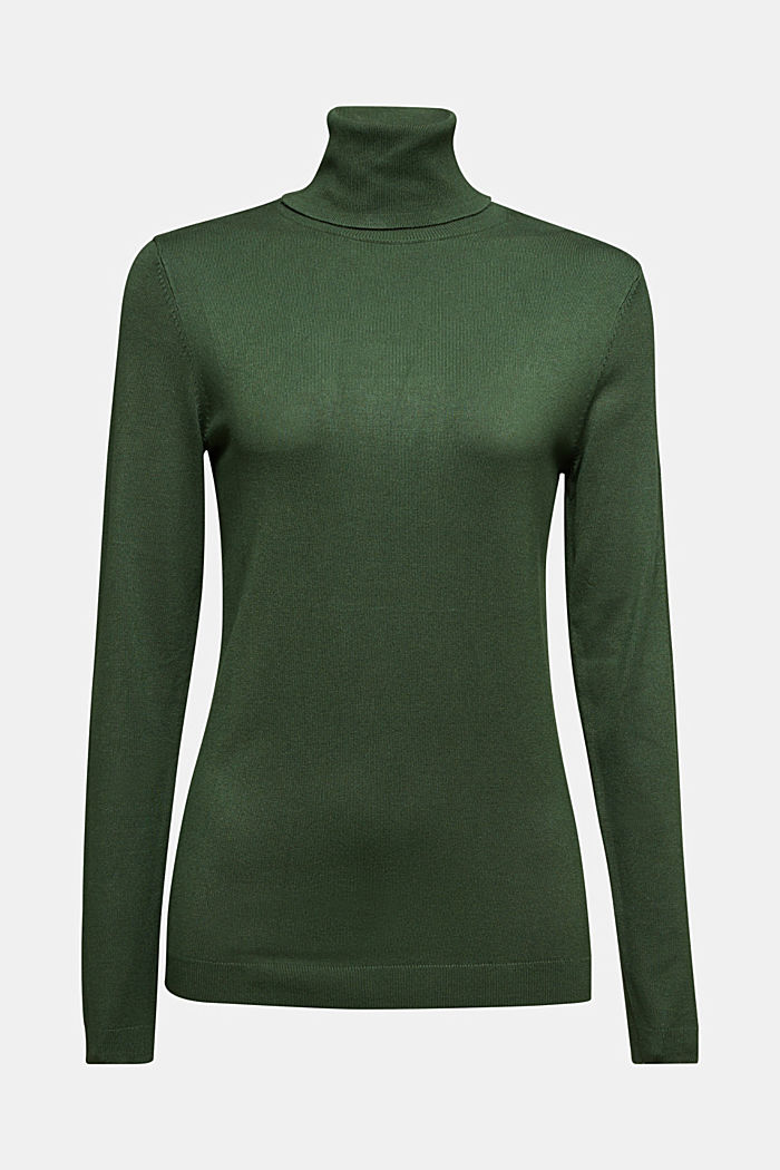 Polo neck jumper, DARK GREEN, detail image number 6