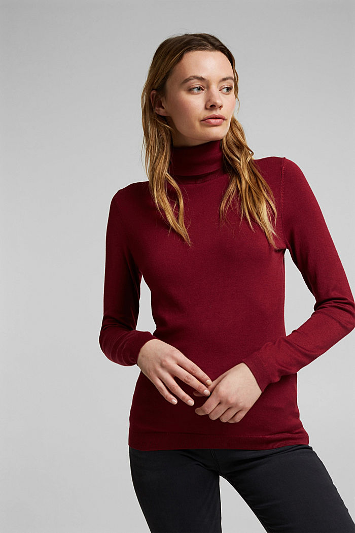 Polo neck jumper, BORDEAUX RED, detail image number 0