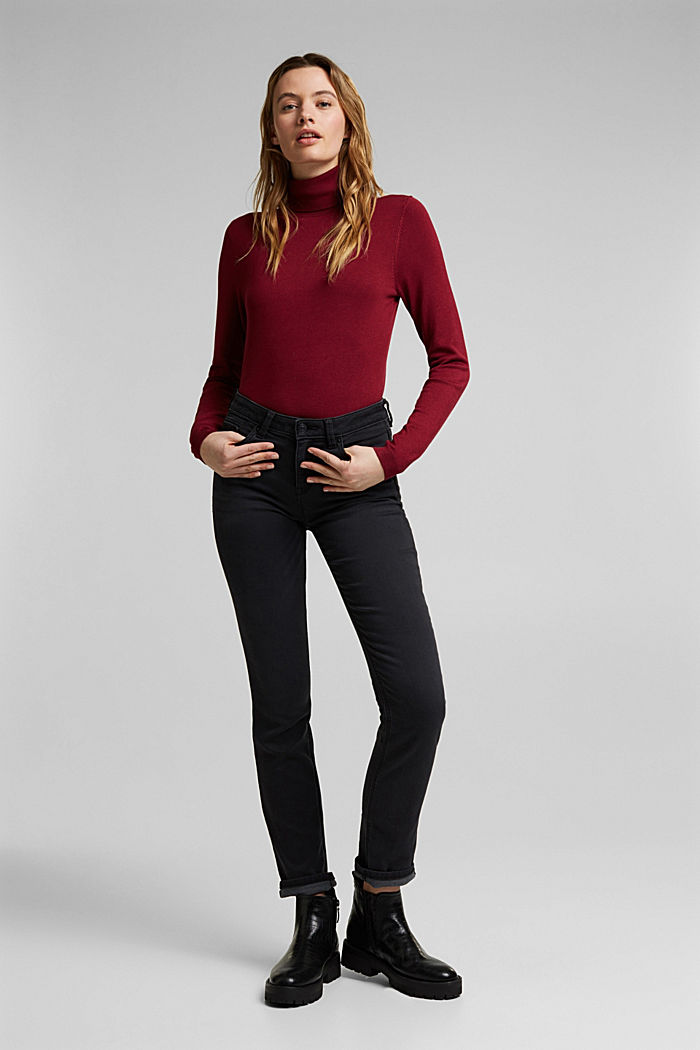 Polo neck jumper, BORDEAUX RED, detail image number 1