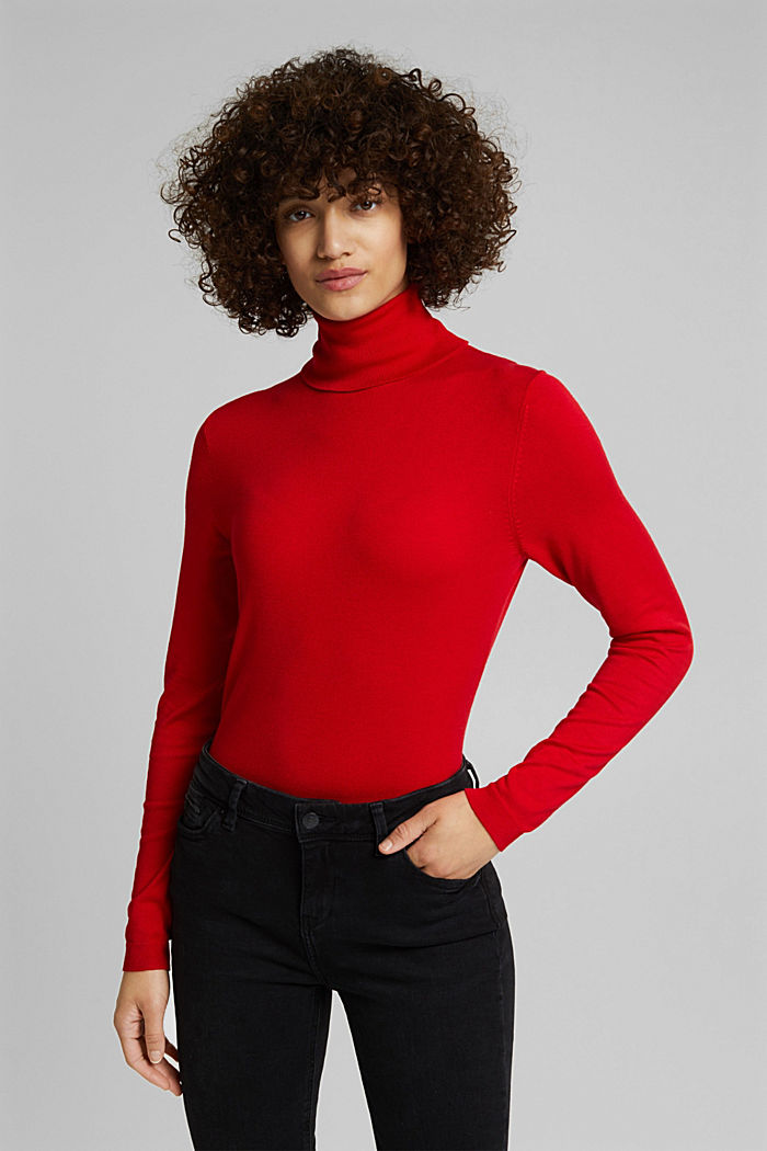 Polo neck jumper, RED, detail image number 0