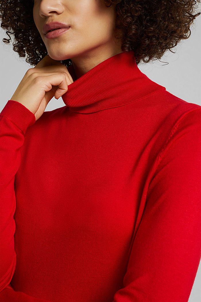 Polo neck jumper, RED, detail image number 2