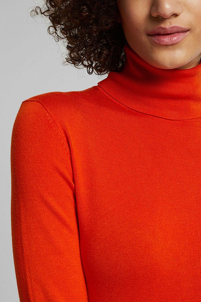Polo neck jumper, RUST ORANGE, detail image number 2
