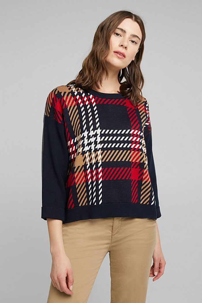 Jacquard jumper with cashmere, NAVY, detail image number 0