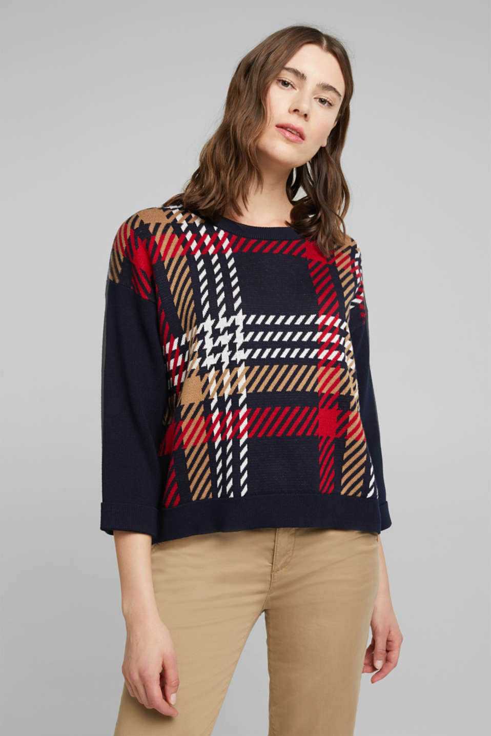 Esprit - Jacquard jumper with cashmere